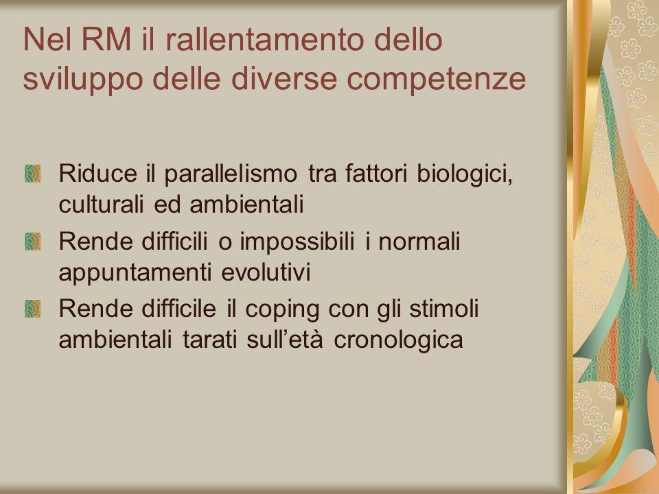 Nel RM il rallentamento dello sviluppo delle diverse competenze Riduce il parallelismo tra fattori biologici, culturali ed ambientali Rende difficili