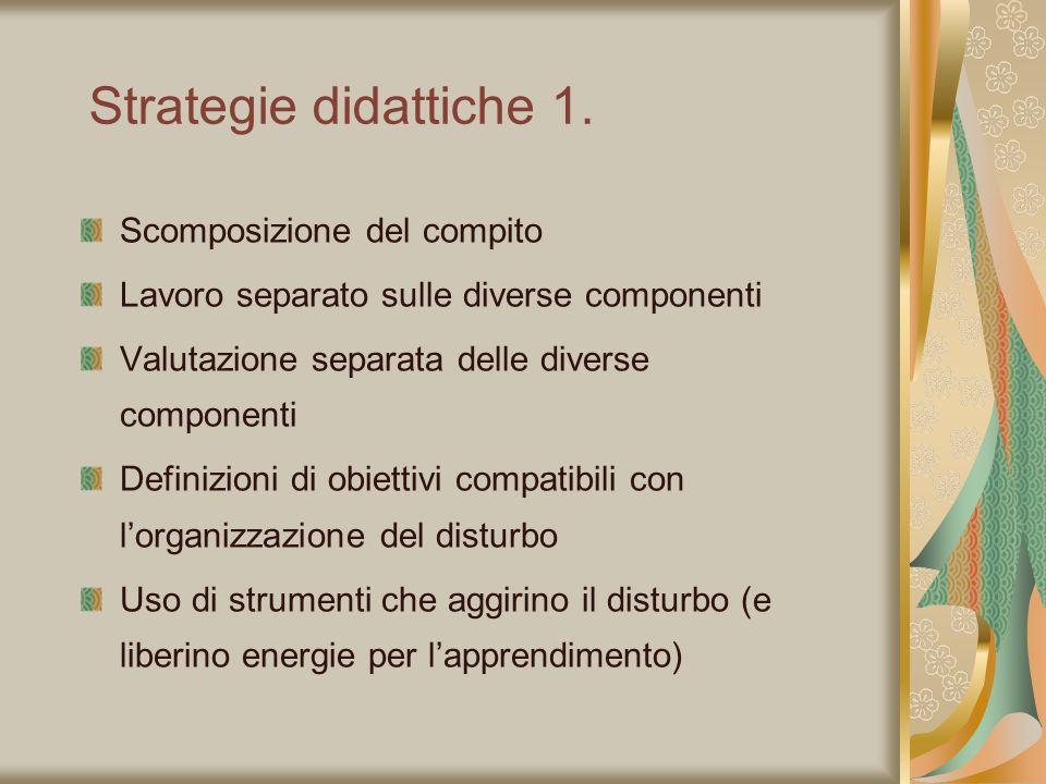 Strategie didattiche 1. Scomposizione del compito Lavoro separato sulle diverse componenti Valutazione separata delle diverse componenti Definizioni d
