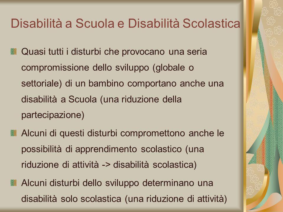 Disabilità a Scuola e Disabilità Scolastica Quasi tutti i disturbi che provocano una seria compromissione dello sviluppo (globale o settoriale) di un
