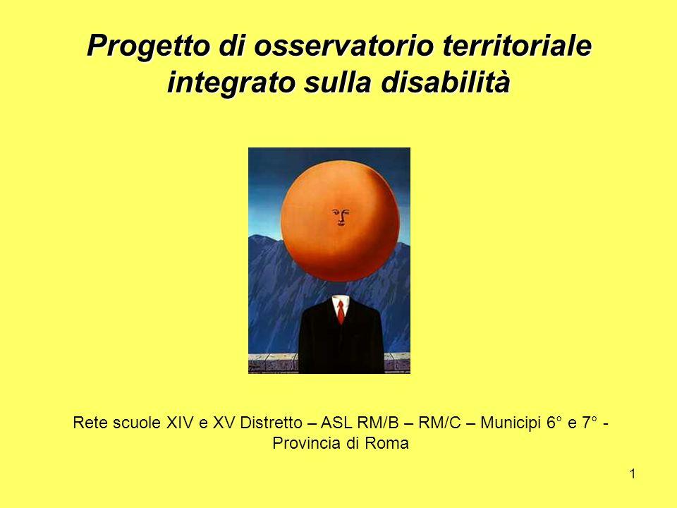 1 Progetto di osservatorio territoriale integrato sulla disabilità Rete scuole XIV e XV Distretto – ASL RM/B – RM/C – Municipi 6° e 7° - Provincia di Roma