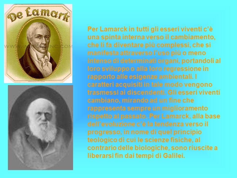 Per Lamarck in tutti gli esseri viventi cè una spinta interna verso il cambiamento, che li fa diventare più complessi, che si manifesta attraverso lus