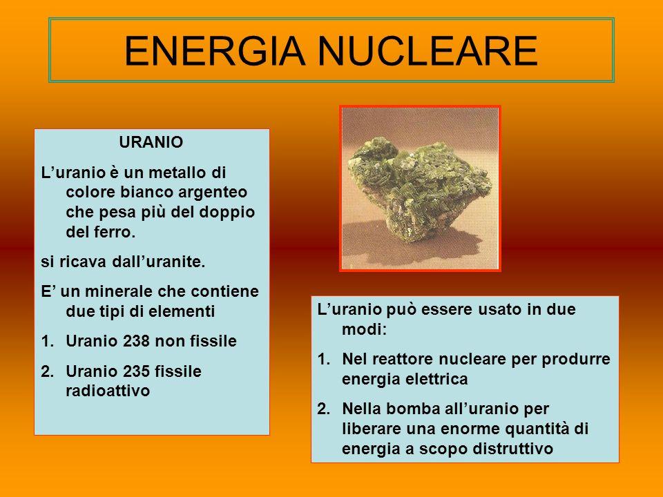 ENERGIA NUCLEARE URANIO Luranio è un metallo di colore bianco argenteo che pesa più del doppio del ferro. si ricava dalluranite. E un minerale che con