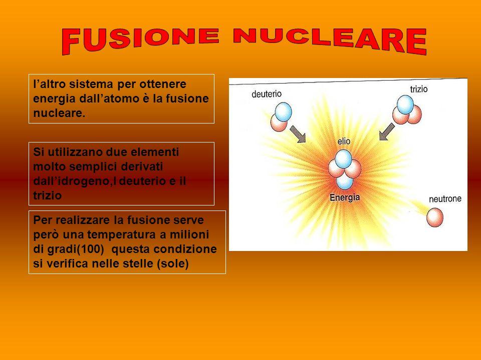 laltro sistema per ottenere energia dallatomo è la fusione nucleare. Si utilizzano due elementi molto semplici derivati dallidrogeno,l deuterio e il t