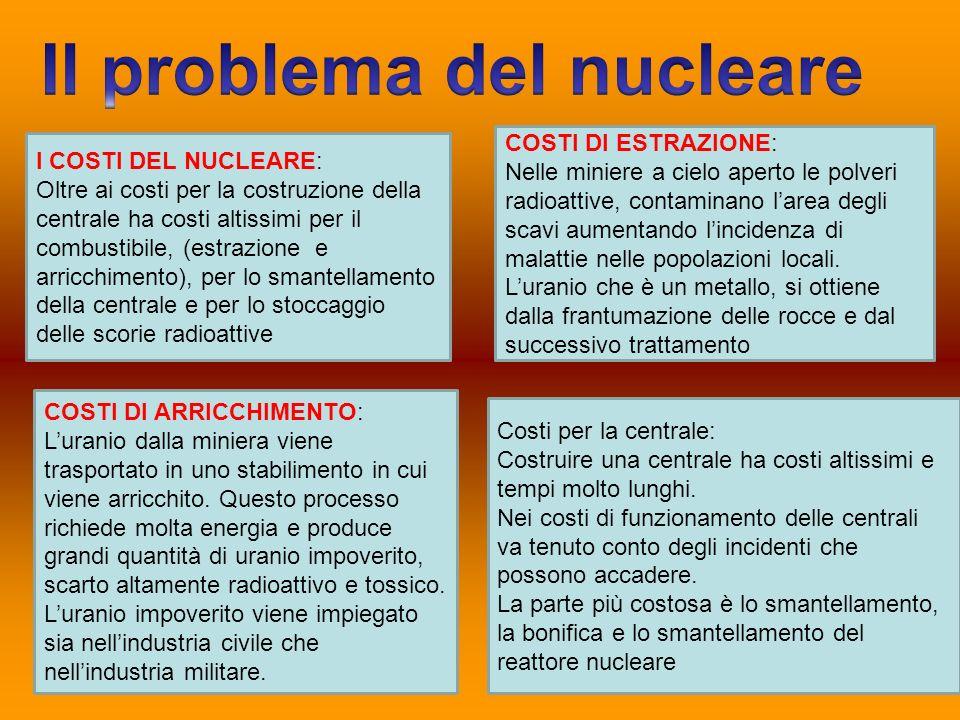 I COSTI DEL NUCLEARE: Oltre ai costi per la costruzione della centrale ha costi altissimi per il combustibile, (estrazione e arricchimento), per lo sm