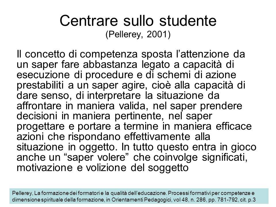 Centrare sullo studente (Pellerey, 2001) Il concetto di competenza sposta lattenzione da un saper fare abbastanza legato a capacità di esecuzione di p