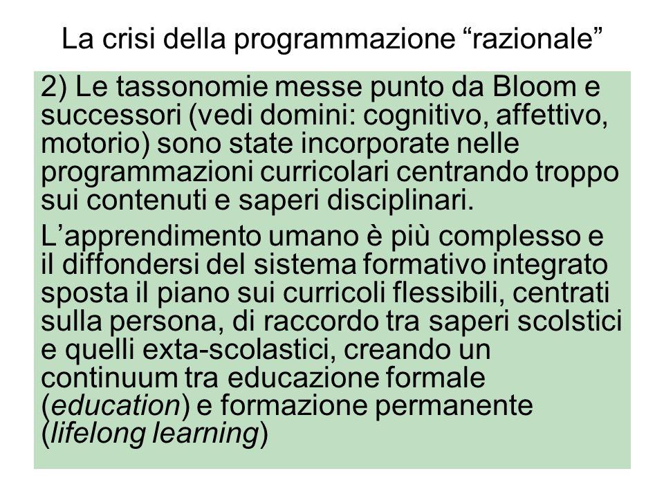 La crisi della programmazione razionale 2) Le tassonomie messe punto da Bloom e successori (vedi domini: cognitivo, affettivo, motorio) sono state inc