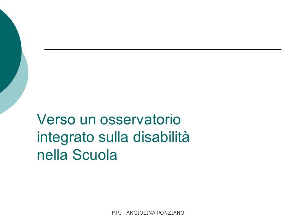 MPI - ANGIOLINA PONZIANO Verso un osservatorio integrato sulla disabilità nella Scuola