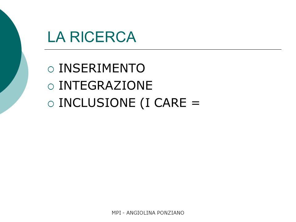 MPI - ANGIOLINA PONZIANO LA RICERCA INSERIMENTO INTEGRAZIONE INCLUSIONE (I CARE =