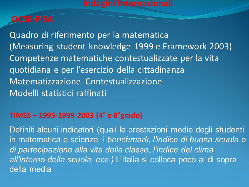 Indagini Internazionali OCSE-PISA Quadro di riferimento per la matematica (Measuring student knowledge 1999 e Framework 2003) Competenze matematiche c