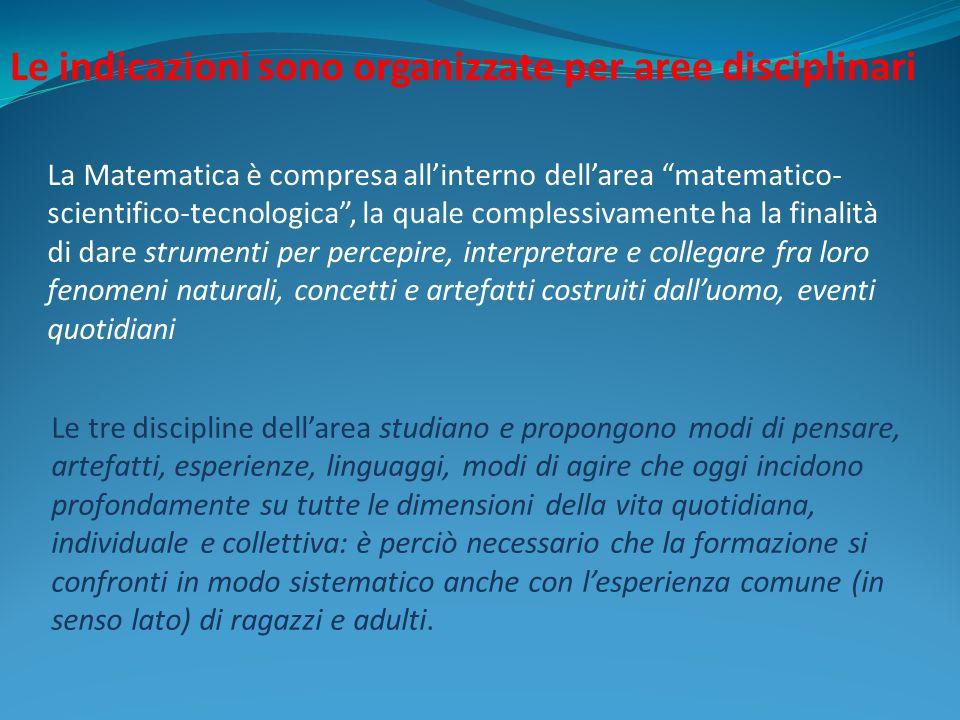 La Matematica è compresa allinterno dellarea matematico- scientifico-tecnologica, la quale complessivamente ha la finalità di dare strumenti per perce