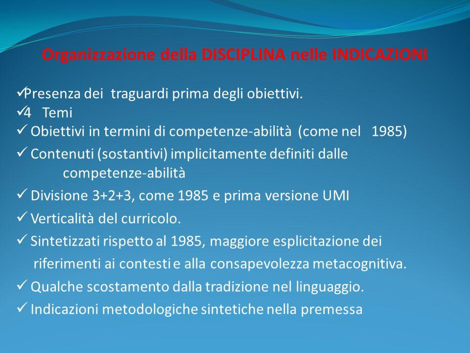 Organizzazione della DISCIPLINA nelle INDICAZIONI Presenza dei traguardi prima degli obiettivi. 4 Temi Obiettivi in termini di competenze-abilità (com