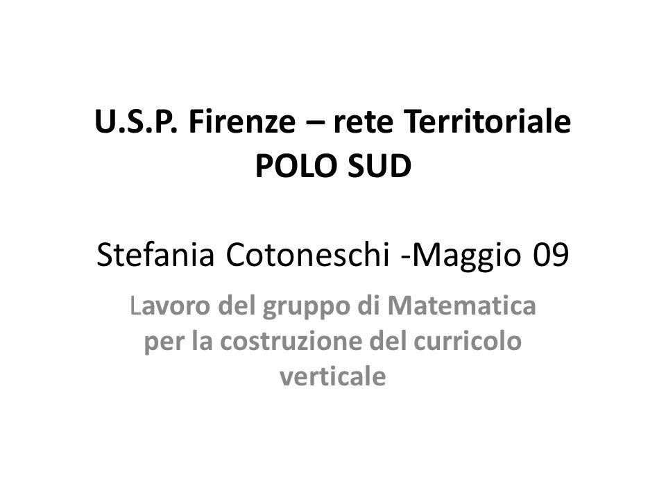 U.S.P. Firenze – rete Territoriale POLO SUD Stefania Cotoneschi -Maggio 09 Lavoro del gruppo di Matematica per la costruzione del curricolo verticale