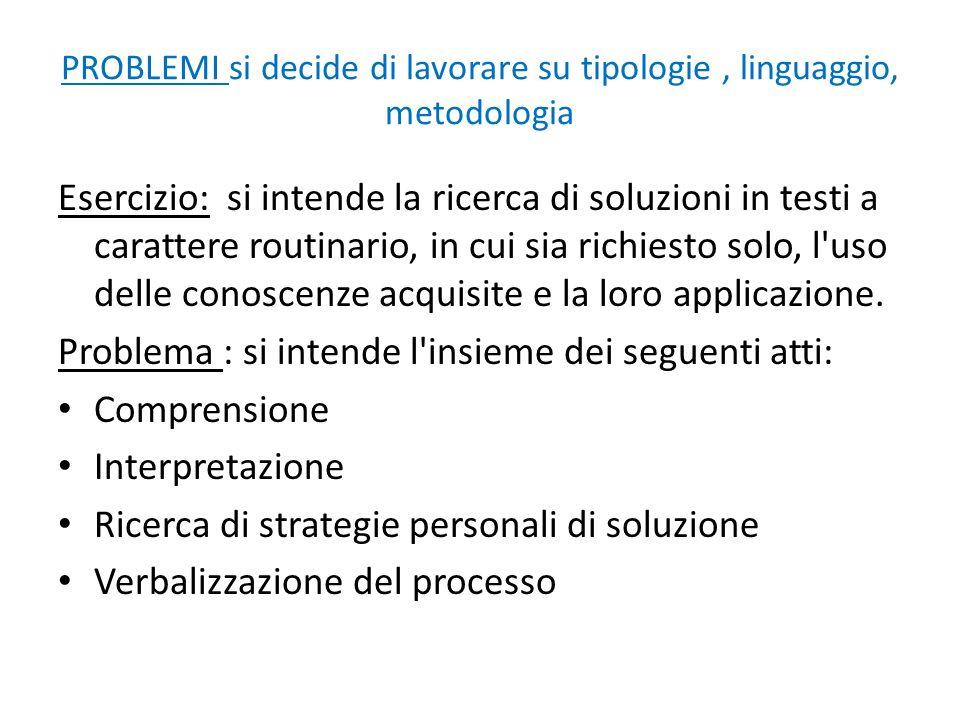 PROBLEMI si decide di lavorare su tipologie, linguaggio, metodologia Esercizio: si intende la ricerca di soluzioni in testi a carattere routinario, in
