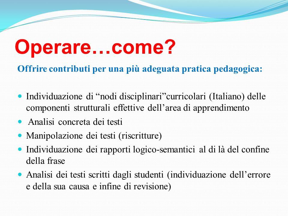 Operare…come? Offrire contributi per una più adeguata pratica pedagogica: Individuazione di nodi disciplinaricurricolari (Italiano) delle componenti s
