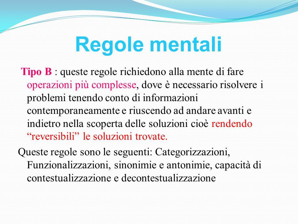 Regole mentali Tipo B : queste regole richiedono alla mente di fare operazioni più complesse, dove è necessario risolvere i problemi tenendo conto di
