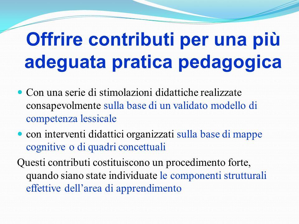 Offrire contributi per una più adeguata pratica pedagogica Con una serie di stimolazioni didattiche realizzate consapevolmente sulla base di un valida