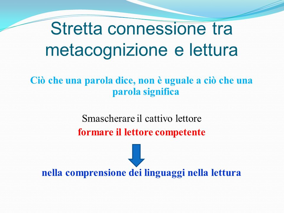 Stretta connessione tra metacognizione e lettura Ciò che una parola dice, non è uguale a ciò che una parola significa Smascherare il cattivo lettore f