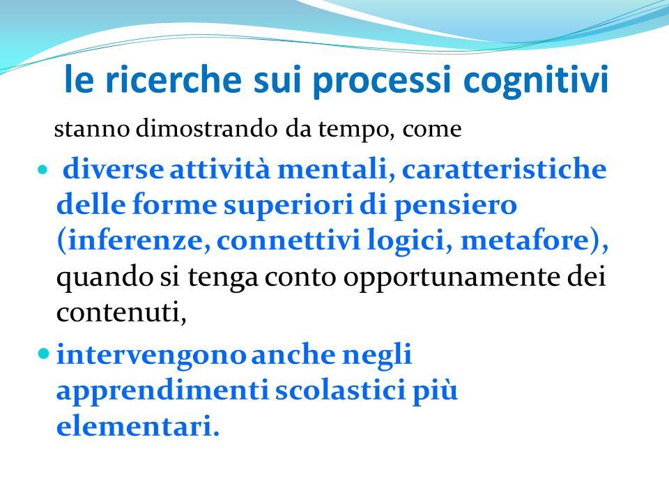 le ricerche sui processi cognitivi stanno dimostrando da tempo, come diverse attività mentali, caratteristiche delle forme superiori di pensiero (infe