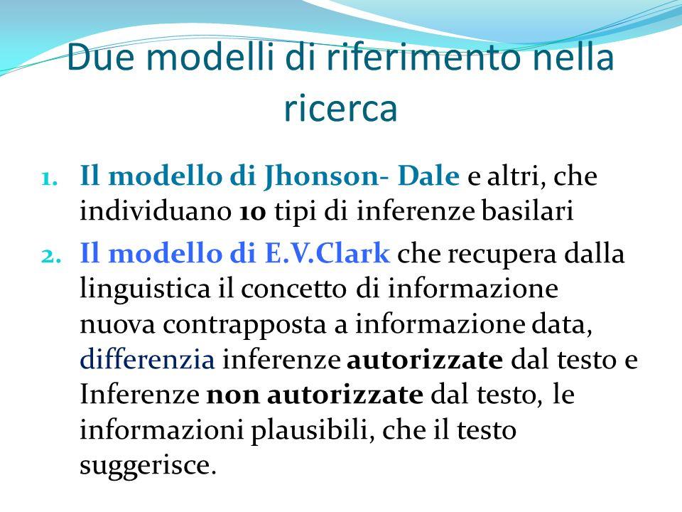 Due modelli di riferimento nella ricerca 1. Il modello di Jhonson- Dale e altri, che individuano 10 tipi di inferenze basilari 2. Il modello di E.V.Cl