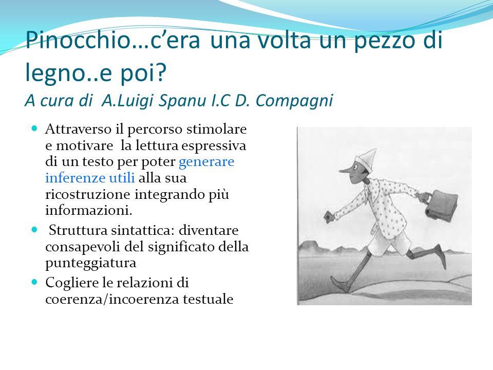 Pinocchio…cera una volta un pezzo di legno..e poi? A cura di A.Luigi Spanu I.C D. Compagni Attraverso il percorso stimolare e motivare la lettura espr