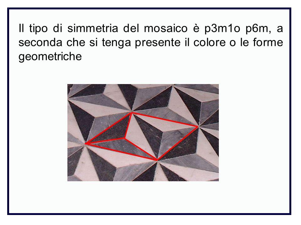 Il tipo di simmetria del mosaico è p3m1o p6m, a seconda che si tenga presente il colore o le forme geometriche