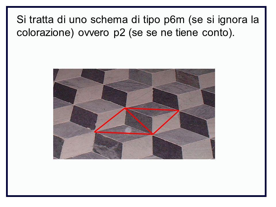 Si tratta di uno schema di tipo p6m (se si ignora la colorazione) ovvero p2 (se se ne tiene conto).