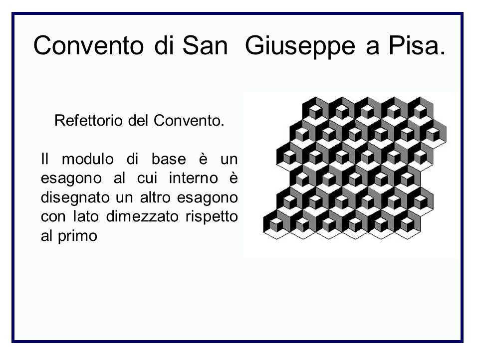 Convento di San Giuseppe a Pisa. Refettorio del Convento. Il modulo di base è un esagono al cui interno è disegnato un altro esagono con lato dimezzat