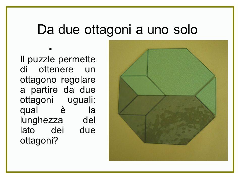 Il puzzle permette di ottenere un ottagono regolare a partire da due ottagoni uguali: qual è la lunghezza del lato dei due ottagoni? Da due ottagoni a
