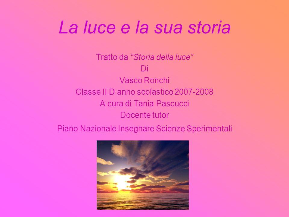 La luce e la sua storia Tratto da Storia della luce Di Vasco Ronchi Classe II D anno scolastico 2007-2008 A cura di Tania Pascucci Docente tutor Piano