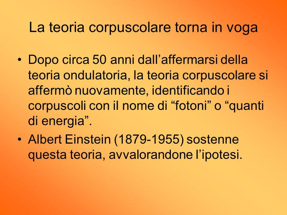La teoria corpuscolare torna in voga Dopo circa 50 anni dallaffermarsi della teoria ondulatoria, la teoria corpuscolare si affermò nuovamente, identif