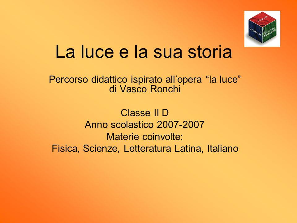 La luce e la sua storia Percorso didattico ispirato allopera la luce di Vasco Ronchi Classe II D Anno scolastico 2007-2007 Materie coinvolte: Fisica,