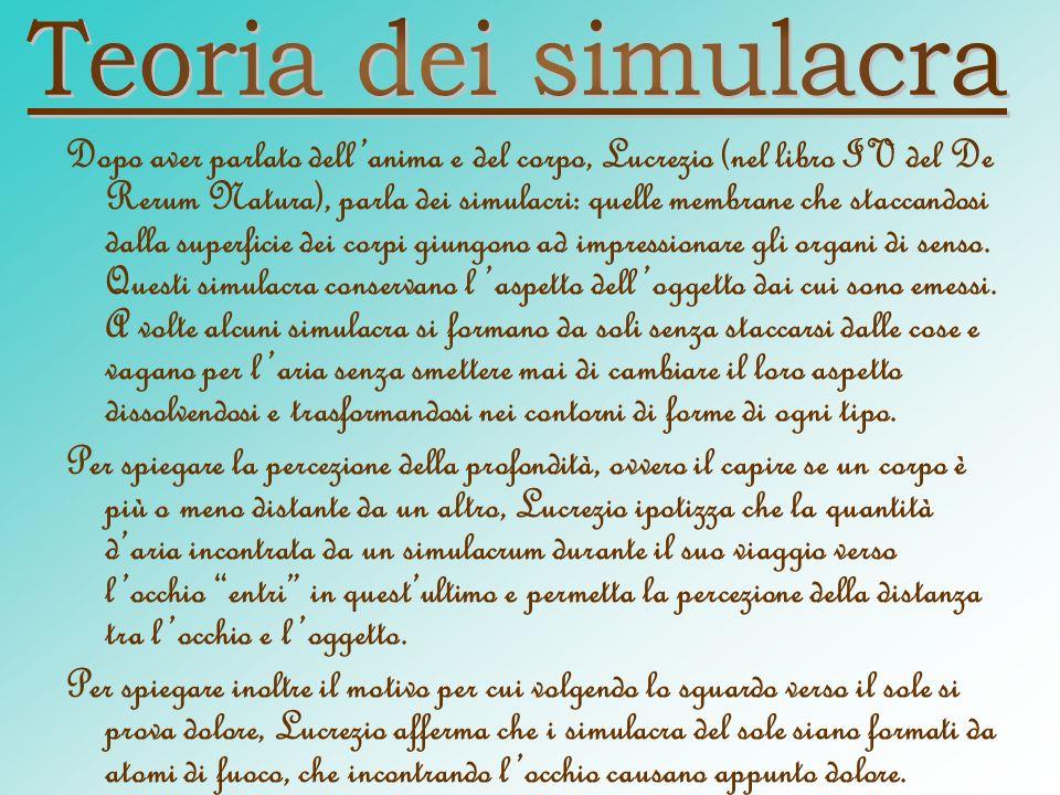 Dopo aver parlato dellanima e del corpo, Lucrezio (nel libro IV del De Rerum Natura), parla dei simulacri: quelle membrane che staccandosi dalla super