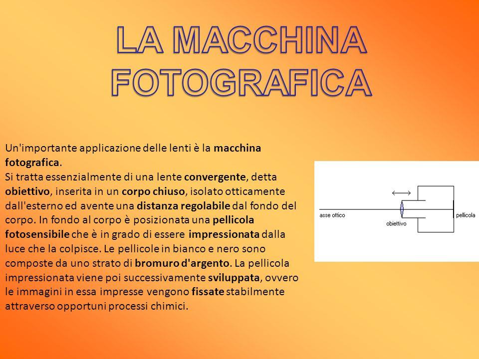 Un'importante applicazione delle lenti è la macchina fotografica. Si tratta essenzialmente di una lente convergente, detta obiettivo, inserita in un c