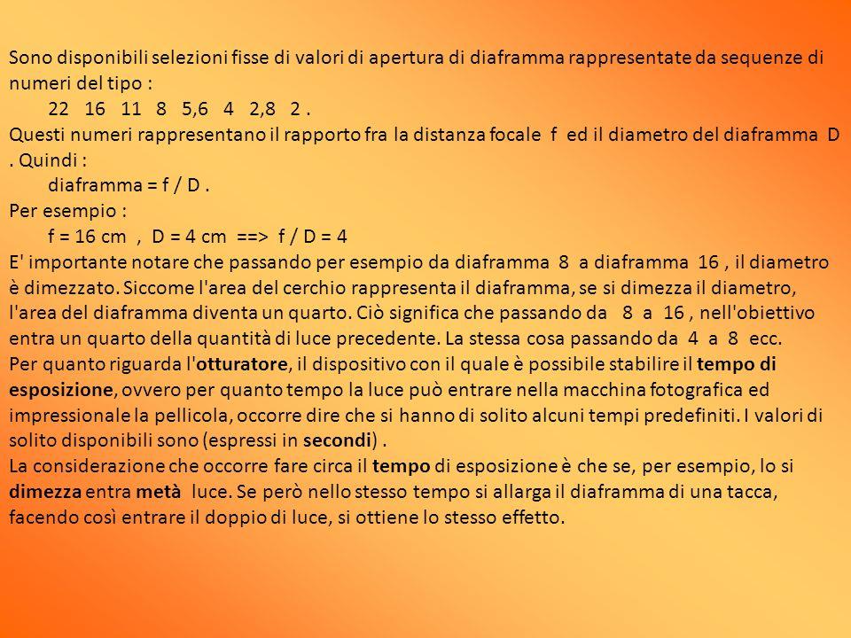Sono disponibili selezioni fisse di valori di apertura di diaframma rappresentate da sequenze di numeri del tipo : 22 16 11 8 5,6 4 2,8 2. Questi nume