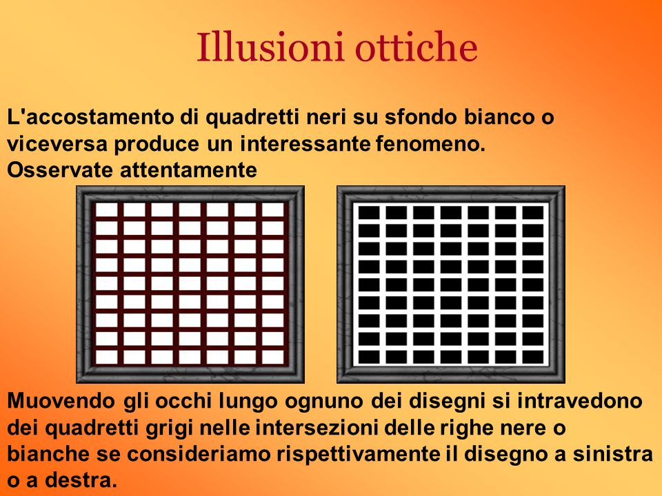 Illusioni ottiche L'accostamento di quadretti neri su sfondo bianco o viceversa produce un interessante fenomeno. Osservate attentamente Muovendo gli