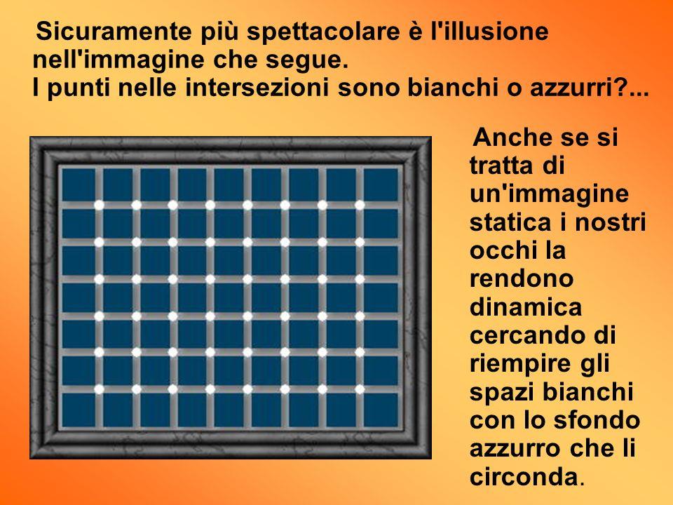 Sicuramente più spettacolare è l'illusione nell'immagine che segue. I punti nelle intersezioni sono bianchi o azzurri?... Anche se si tratta di un'imm