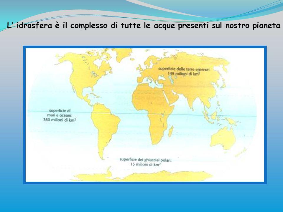 L idrosfera è il complesso di tutte le acque presenti sul nostro pianeta