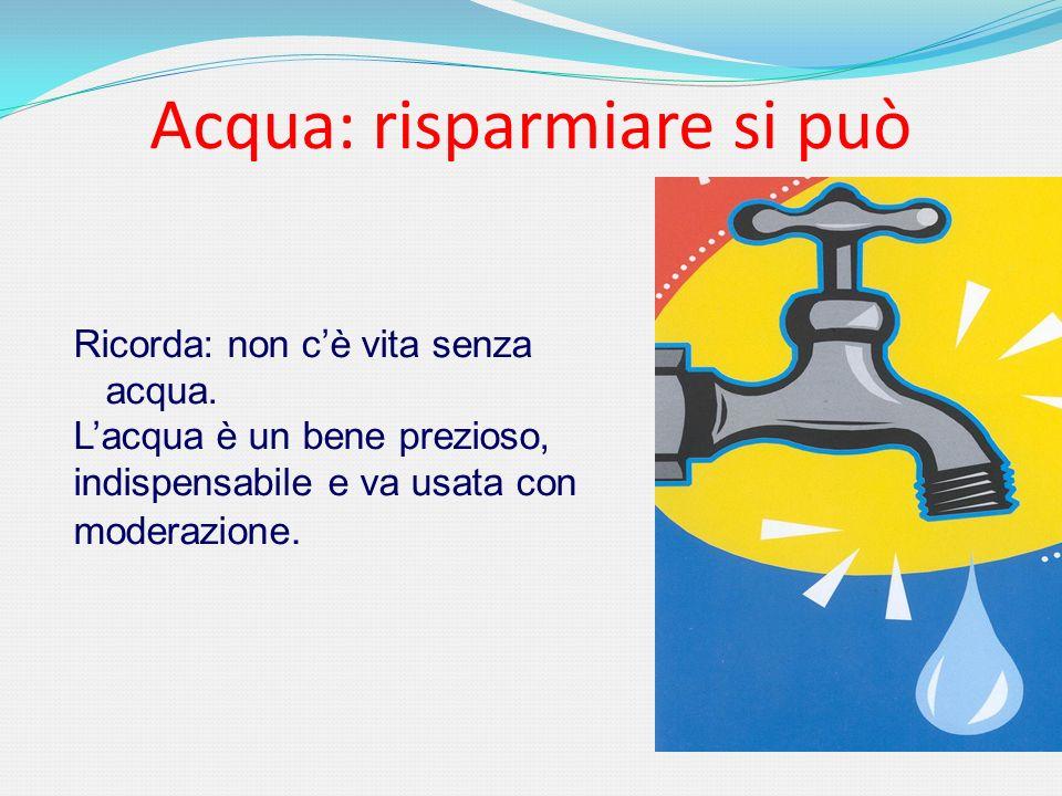 Acqua: risparmiare si può Ricorda: non cè vita senza acqua. Lacqua è un bene prezioso, indispensabile e va usata con moderazione.