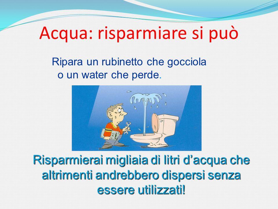 Acqua: risparmiare si può Ripara un rubinetto che gocciola o un water che perde. Risparmierai migliaia di litri dacqua che altrimenti andrebbero dispe