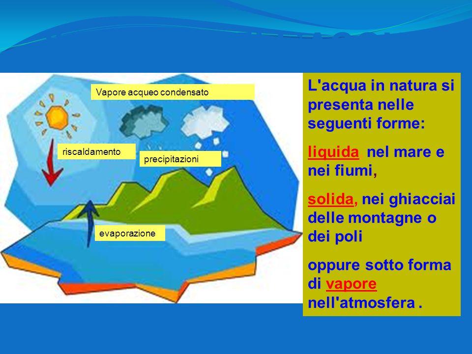 L'acqua in natura si presenta nelle seguenti forme: liquida, nel mare e nei fiumi, solida, nei ghiacciai delle montagne o dei poli oppure sotto forma