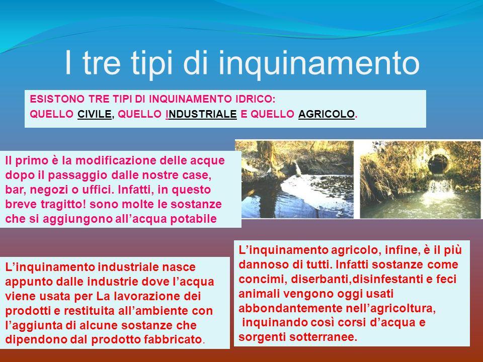 I tre tipi di inquinamento ESISTONO TRE TIPI DI INQUINAMENTO IDRICO: QUELLO CIVILE, QUELLO INDUSTRIALE E QUELLO AGRICOLO. Linquinamento industriale na