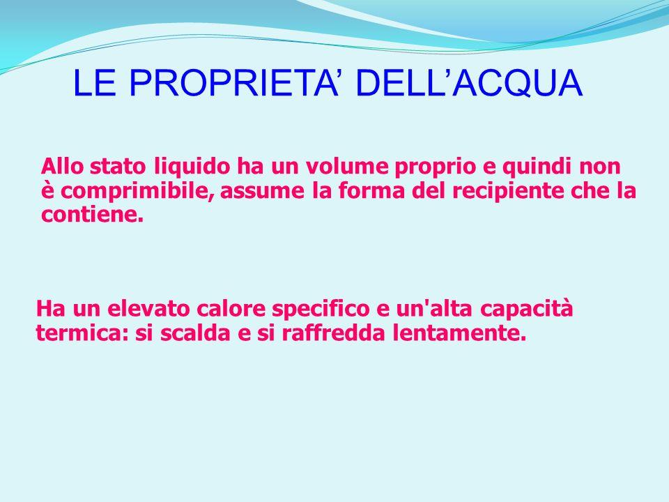 LE PROPRIETA DELLACQUA Allo stato liquido ha un volume proprio e quindi non è comprimibile, assume la forma del recipiente che la contiene. Ha un elev