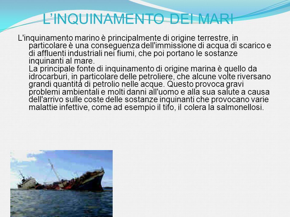 L'inquinamento marino è principalmente di origine terrestre, in particolare è una conseguenza dell'immissione di acqua di scarico e di affluenti indus