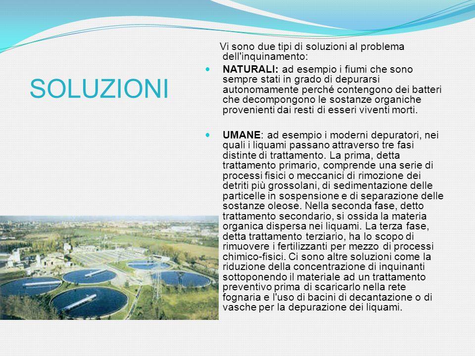 Vi sono due tipi di soluzioni al problema dell'inquinamento: NATURALI: ad esempio i fiumi che sono sempre stati in grado di depurarsi autonomamente pe