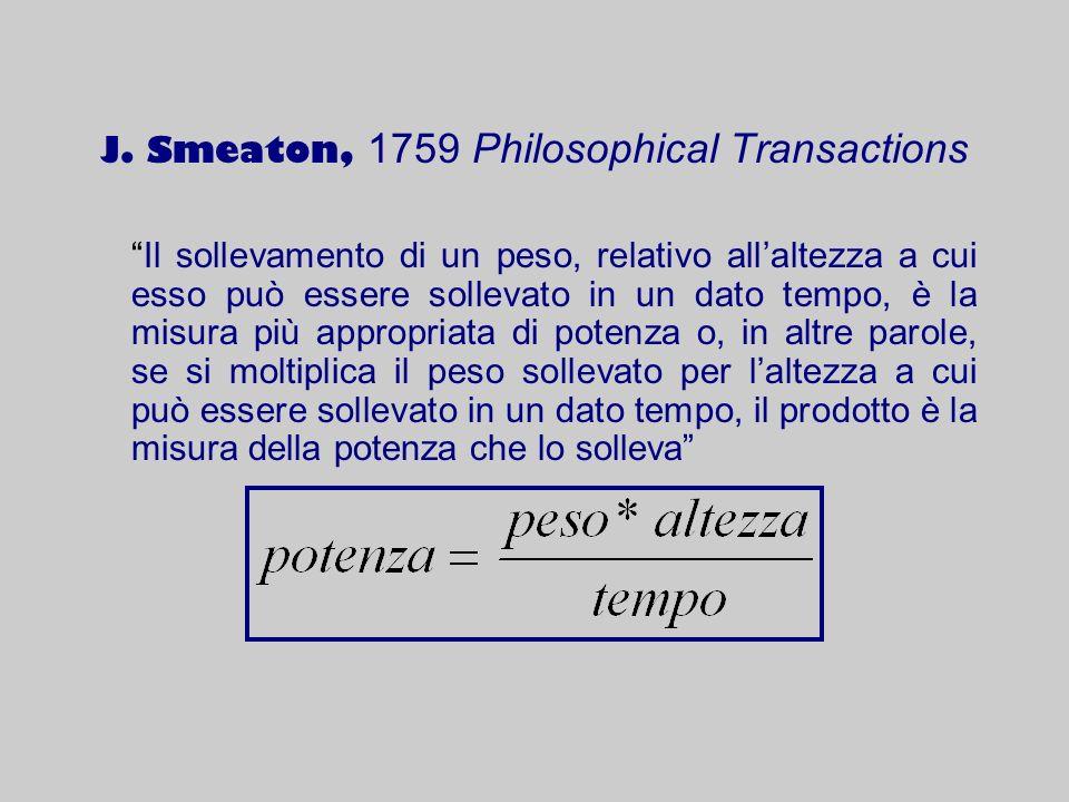 J. Smeaton, 1759 Philosophical Transactions Il sollevamento di un peso, relativo allaltezza a cui esso può essere sollevato in un dato tempo, è la mis