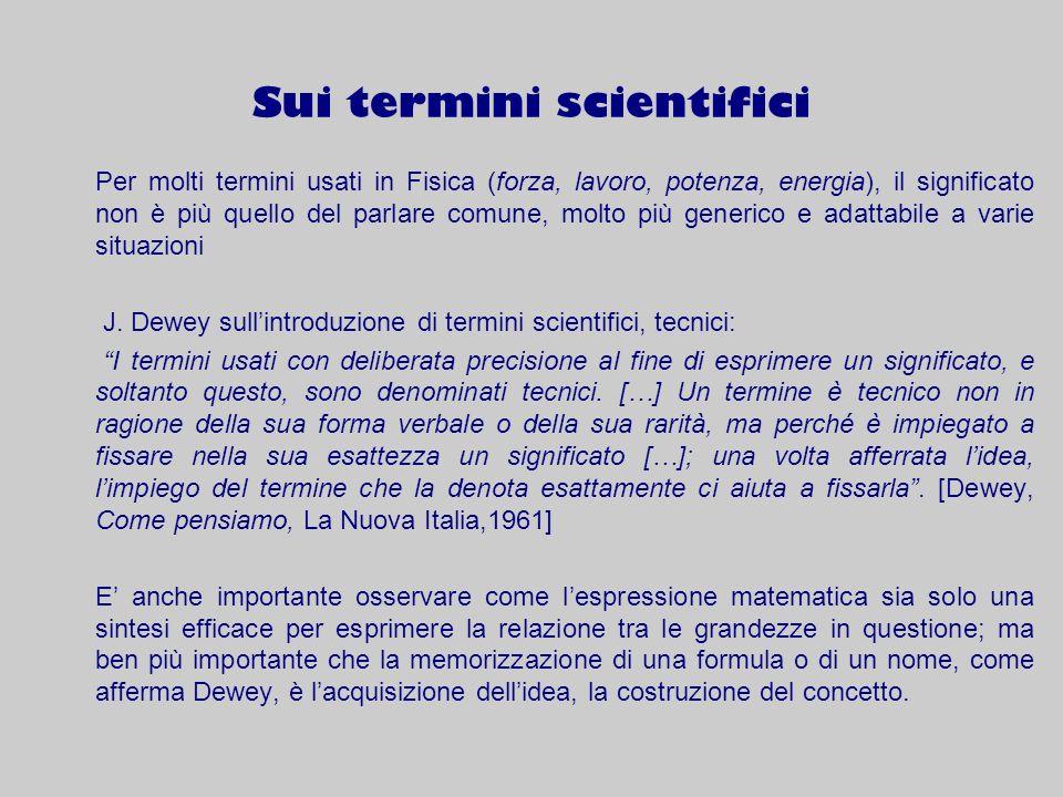 Sui termini scientifici Per molti termini usati in Fisica (forza, lavoro, potenza, energia), il significato non è più quello del parlare comune, molto