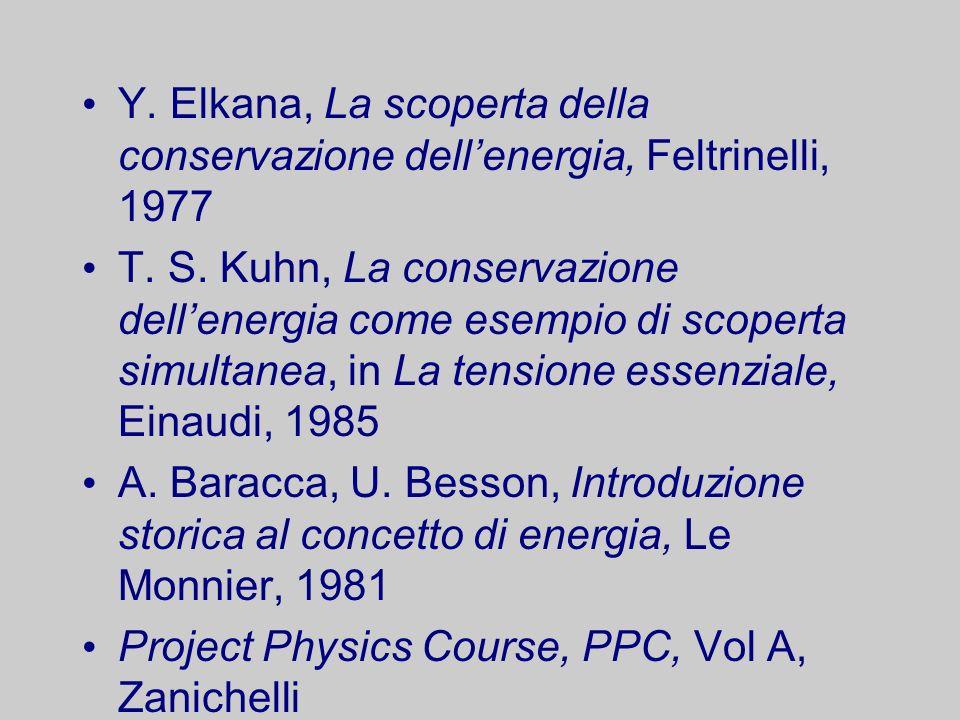 Y. Elkana, La scoperta della conservazione dellenergia, Feltrinelli, 1977 T. S. Kuhn, La conservazione dellenergia come esempio di scoperta simultanea