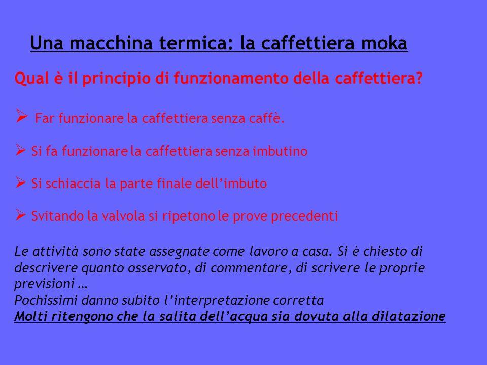 Una macchina termica: la caffettiera moka Qual è il principio di funzionamento della caffettiera.