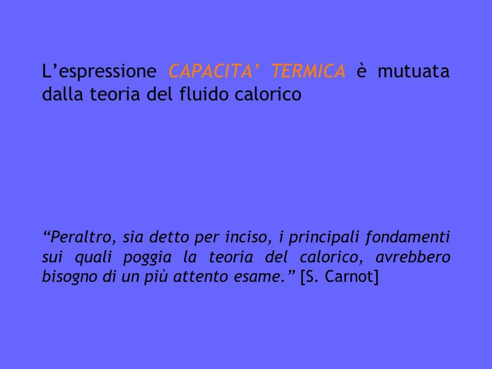 Lespressione CAPACITA TERMICA è mutuata dalla teoria del fluido calorico Peraltro, sia detto per inciso, i principali fondamenti sui quali poggia la teoria del calorico, avrebbero bisogno di un più attento esame.
