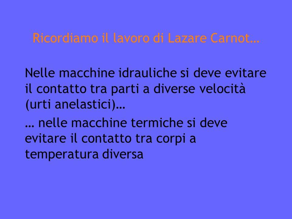 Ricordiamo il lavoro di Lazare Carnot… Nelle macchine idrauliche si deve evitare il contatto tra parti a diverse velocità (urti anelastici)… … nelle macchine termiche si deve evitare il contatto tra corpi a temperatura diversa
